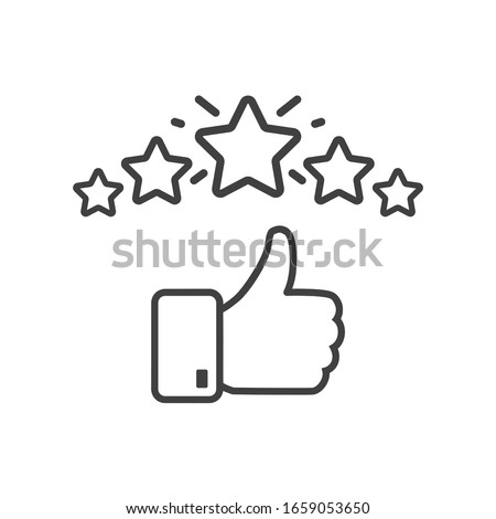 Сustomer satisfaction icon. Reputation 5 stars line icon with thumb up. Quality review with feedback template. Customer reputation concept vector illustration isolated on white background. EPS10
