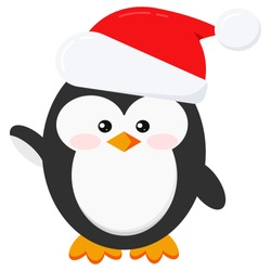 Сute and funny winter little baby child penguin in Santa Claus red christmas hat with fur and pompom isolated on white background in cartoon style. Flat design vector illustration.