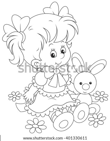 ?ute little girl in a beautiful dress sitting with a small toy rabbit among flowers Stock photo ©