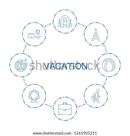8 vacation icons. Trendy vacation icons white background. Included line icons such as inflatable boat, case, Eiffel Tower, swimsuit, man with case. vacation icon for web and mobile.