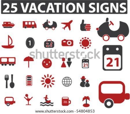 25 vacation signs. vector