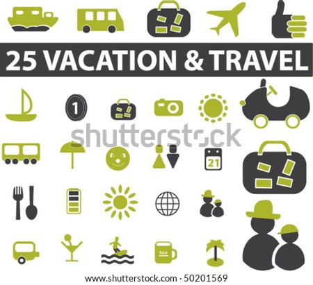 25 vacation & travel signs. vector