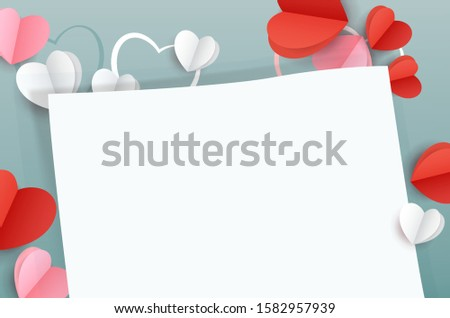Valentine's Day background. A sheet for congratulations on Valentine's Day. Valentine's Day flat lay copy space. Top view on a blue background a sheet of white paper for a text of congratulation and