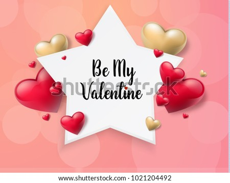 2018 Valentine's day background with textbox and beautifull hearts. Vector illustration #1021204492