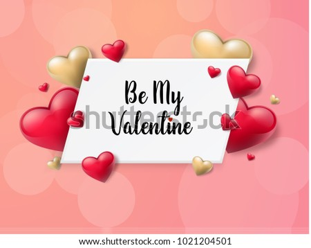 2018 Valentine's day background with textbox and beautifull hearts. Vector illustration #1021204501