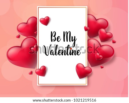 2018 Valentine's day background with textbox and beautifull hearts. Vector illustration #1021219516