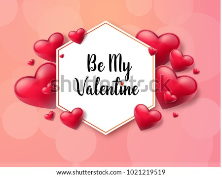 2018 Valentine's day background with textbox and beautifull hearts. Vector illustration #1021219519