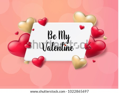 2018 Valentine's day background with textbox and beautifull hearts. Vector illustration #1022865697