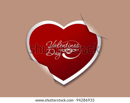 valentine's day paper curl heart, vector illustration.