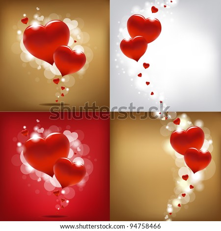 4 valentines day gard  vector