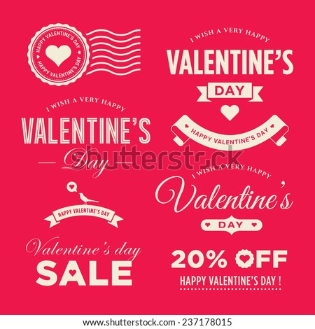 Valentines day set of label, badges, stamp and design elements