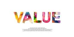 Value word creative design Concept . Modern Vector Illustration concept of word Value