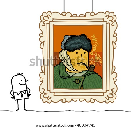 """Van Gogh"" cartoon - stock vector"