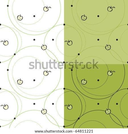 3 variations of sketched apples and circles pattern for textile or wrapping paper.