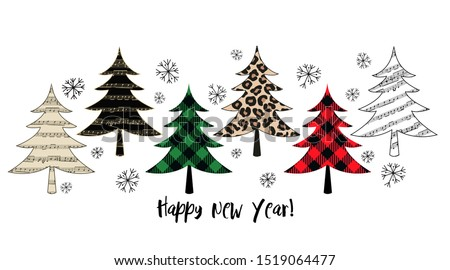 Variety of Christmas trees. Winter forest. Vector set or holiday card. Isolated design objects on a white background.