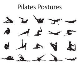 20 Various Pilates Postures Positions Silhouette Vector Illustration