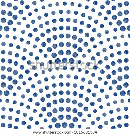 Vector abstract seamless wavy pattern with geometrical fish scale layout. Light small blue watercolor painted drops on a white background. Peacock tail shape, fan silhouette. Textile print, web page