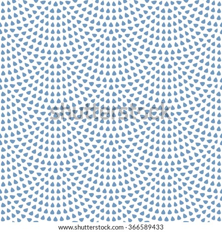Vector abstract seamless wavy pattern with geometrical fish scale layout. Light small blue rain water drops on a white background. Peacock tail shape, fan silhouette. Textile print, web page fill