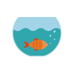 Vector aquarium fish  silhouette illustration. Colorful cartoon flat aquarium fish icon for your design.