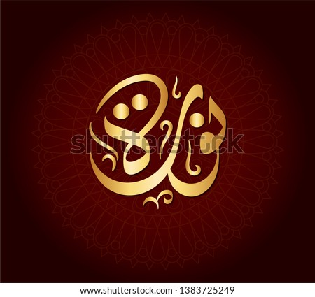 Vector Arabic Islamic calligraphy of an Islamic Arabic name ( Noura ) means,  The woman with the light.