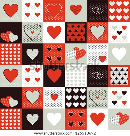 Vector background for valentines day. Vintage pattern with decorative hearts