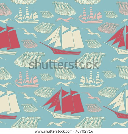 vector background with boats and gulls