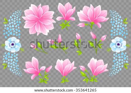 vector   13 beautiful flowers