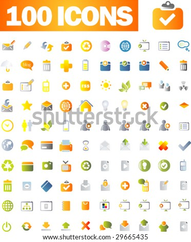 100 Vector beautiful icon set. Part 1 - Web and business