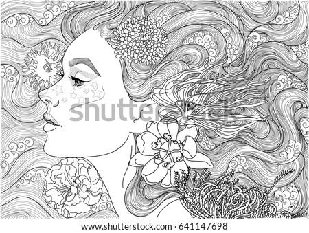 Stock Photo  Vector beautiful sea goddess, mermaid, girl among flowering algae, coloring