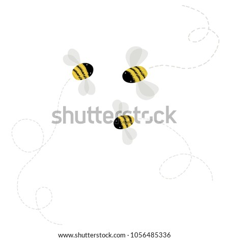 3 vector bee on white background