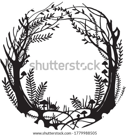 vector black and white illustration. round frame magic forest, mysticism, fairy forest with trees, herbs and mushrooms. design for halloween, fairy tales, postcards. vignette for text. silhouette