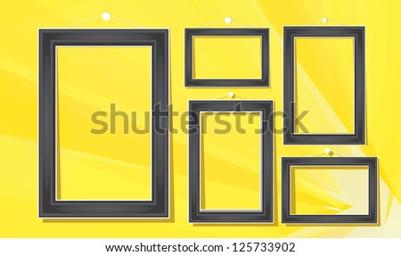 vector black frames on the yellow wall vector illustration - Yellow Picture Frames