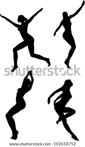 vector black silhouettes of beautiful women on white background