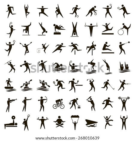 56 vector black sports icons on a white background