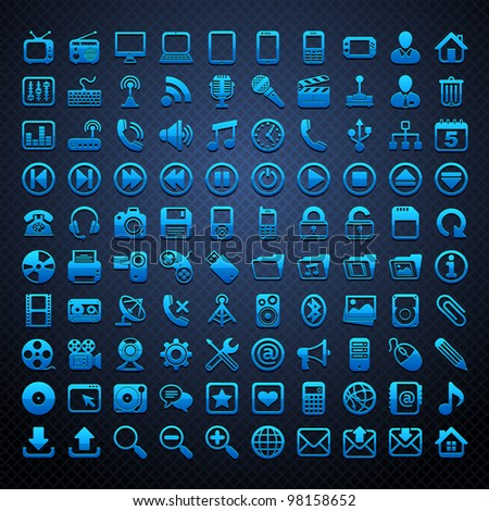 100 vector blue icons
