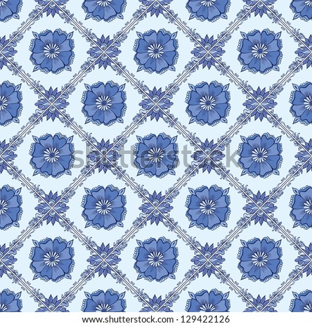 Vector Blue vintage ceramic tiles wall decoration. List on ceramics similar to Gzhel