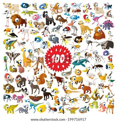 100 vector bright color cartoon