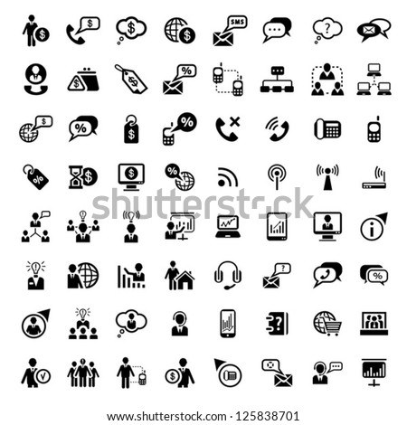 64 Vector Business And Financial Icons Set for web and mobile. All elements are grouped.