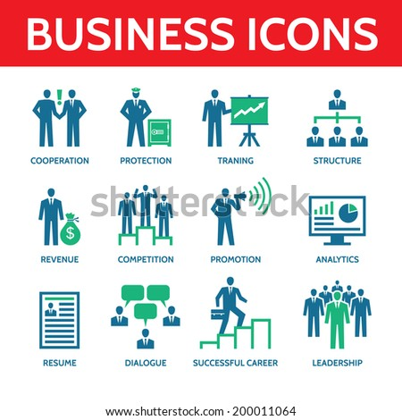 12 vector business icons in