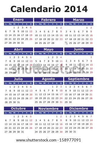 2014 vector calendar in Spanish Easy for edit and apply