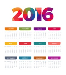 2016 vector Calendar template week starts Monday in white background