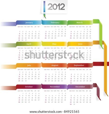 2012 vector calendar with rainbow ribbons