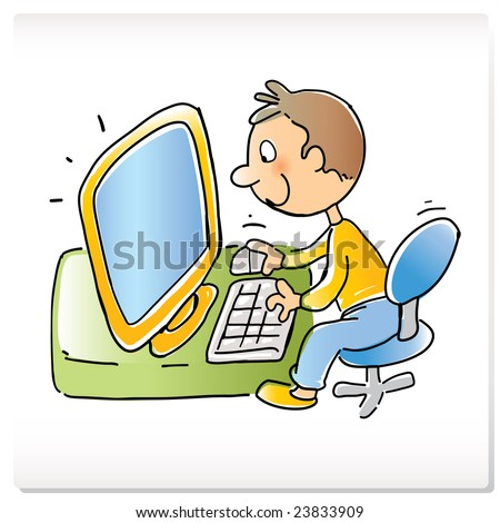 vector cartoon funny boy with computer, hand- drawing style - stock ...