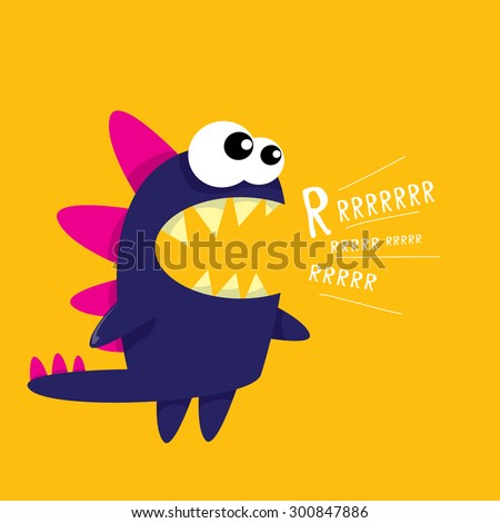 vector cartoon funny dragon