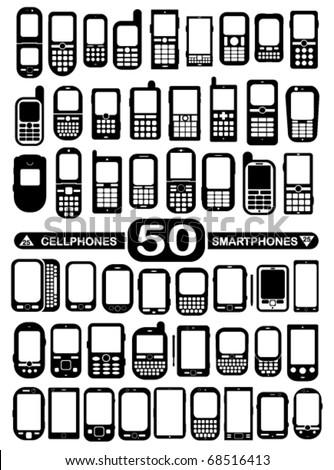 50 Vector Cellphones and Smartphones