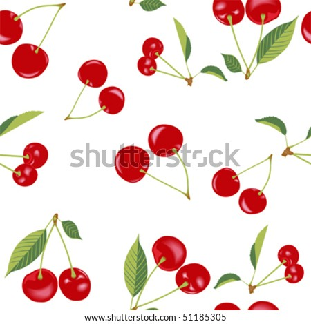 (Vector) Cherry Seamless Pattern (A Jpg version is also available)