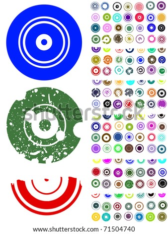 140 Vector Circle Elements with splat and grunge effects