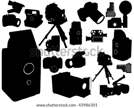 Vector collection of isolated film camera