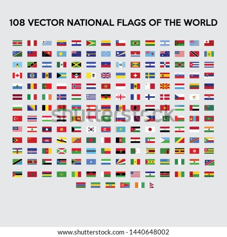 Vector collection of 108 national circular flags with detailed emblems of the world