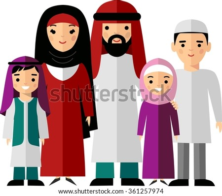 Vector colorful illustration of arab  family in national clothes Traditional muslim parents with two children boy and girl